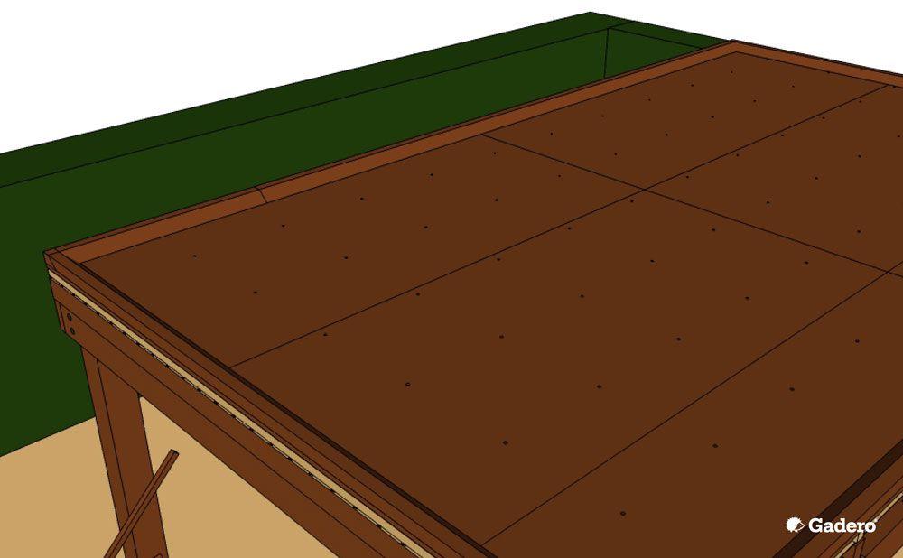 Houten Terrasoverkapping maken met verdiept plat dak