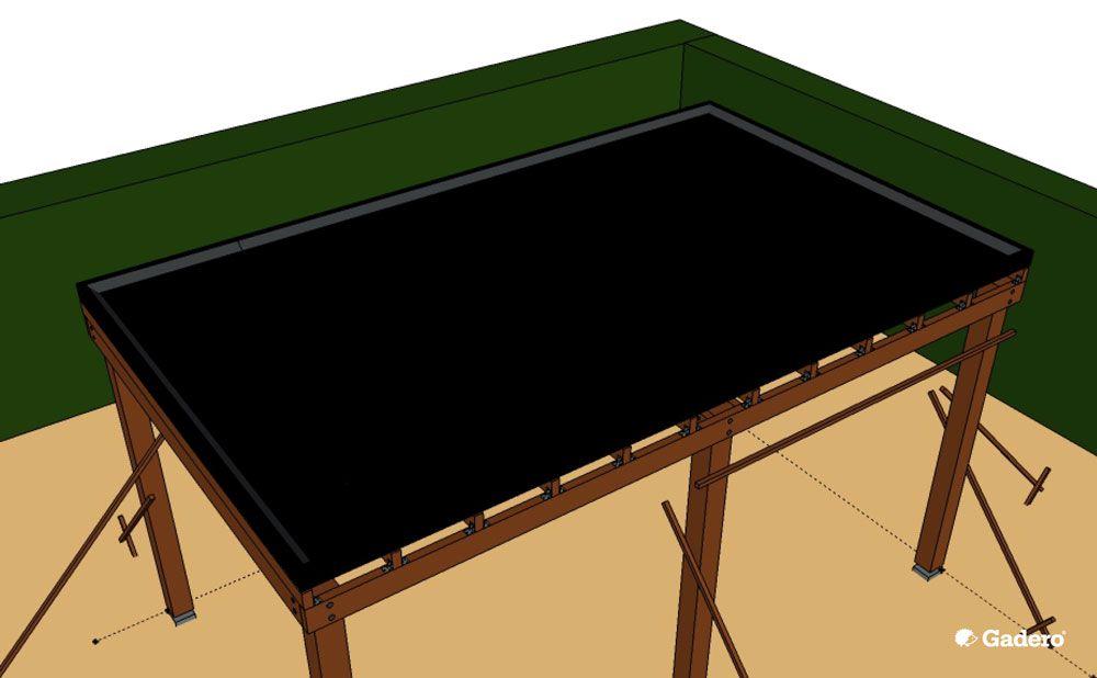 Terrasoverkapping met plat dak dakbedekking epdm / dakleer