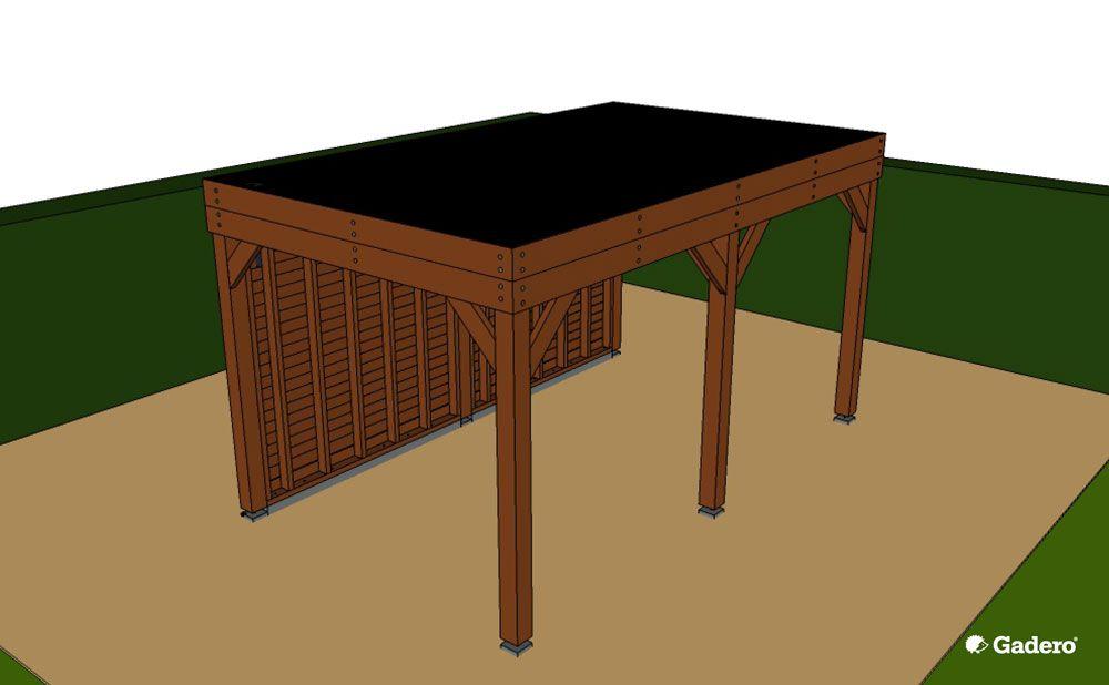 Zeer Zelf Overkapping bouwen met plat dak van Lariks Douglas hout LX64