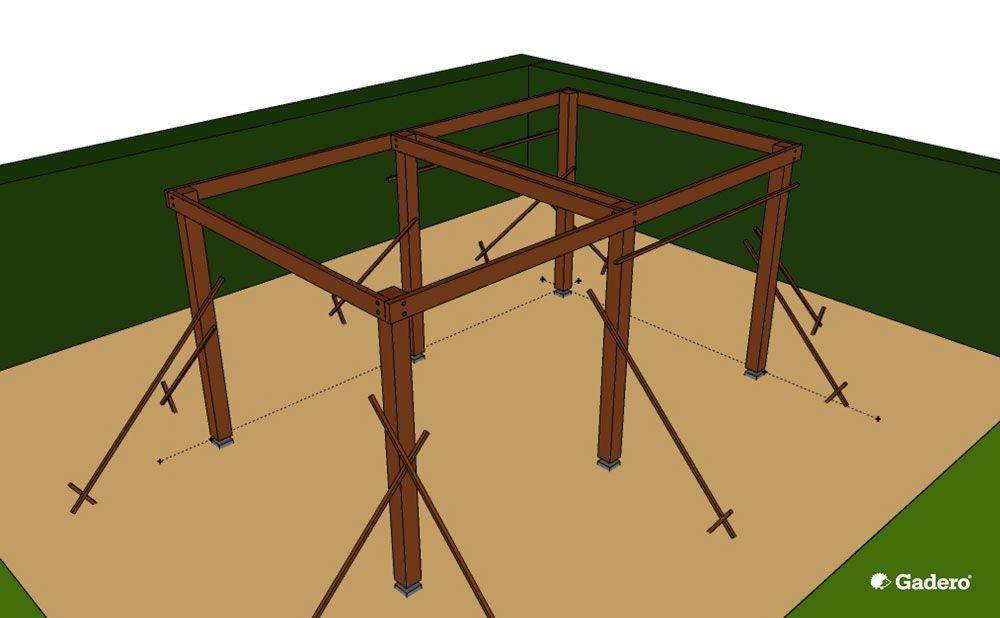 Houten Overkapping bouwen - skelet maken