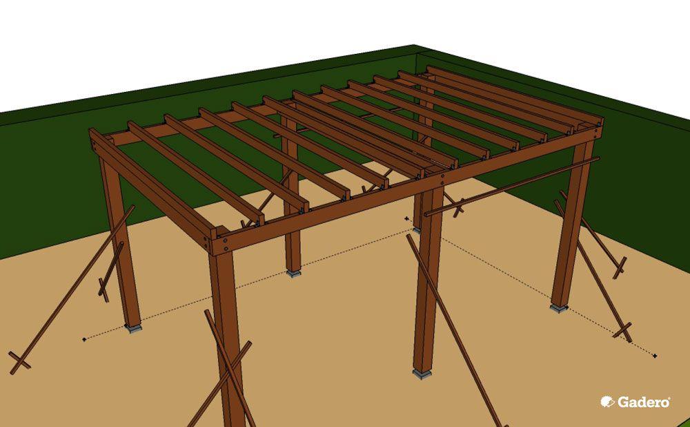Zelf overkapping bouwen met plat dak van lariks douglas hout - Tuin hellende ...