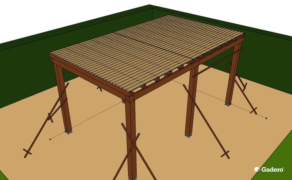 Zelf overkapping bouwen met plat dak van lariks douglas hout - Hoe een overdekt terras te bouwen ...