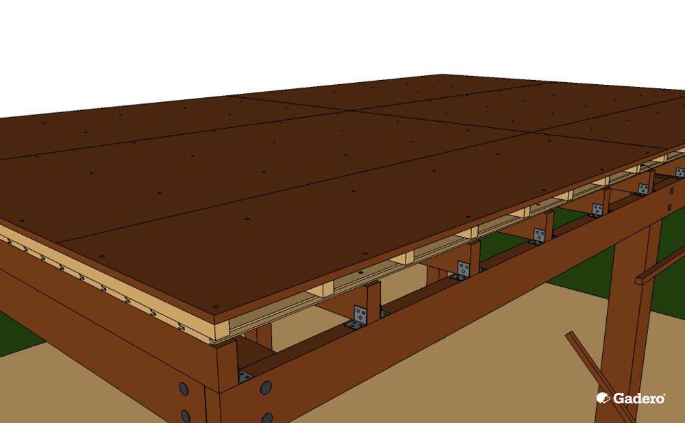 houten overkapping maken dak platen