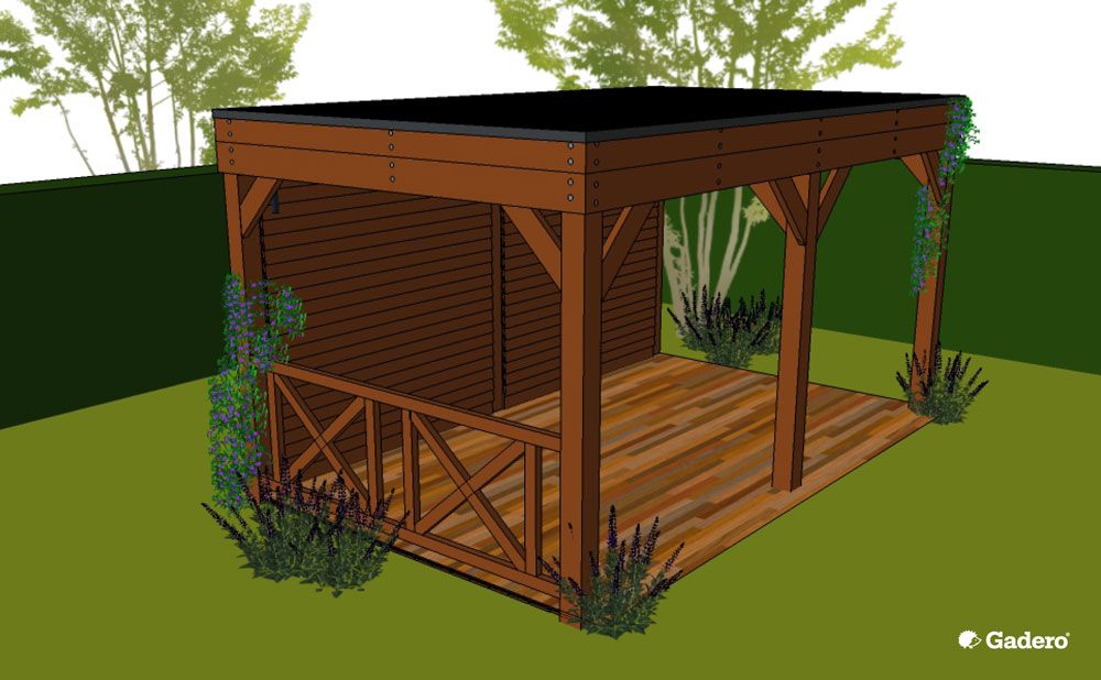 Zelf overkapping bouwen met plat dak van lariks douglas hout for Foto op hout maken eigen huis en tuin