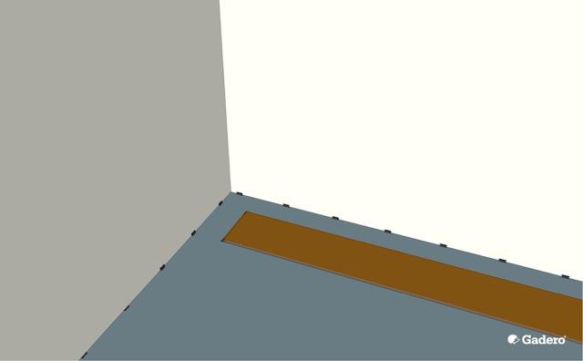 Eerste lamel parket plank leggen met afstandhouders