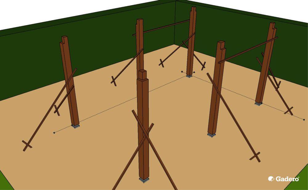 Zelf overkapping bouwen met plat dak van lariks douglas hout for Tuin allen idee