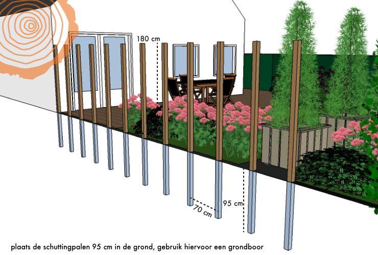 Schutting met verticale planken plaatsen tips berekening for Schutting zetten