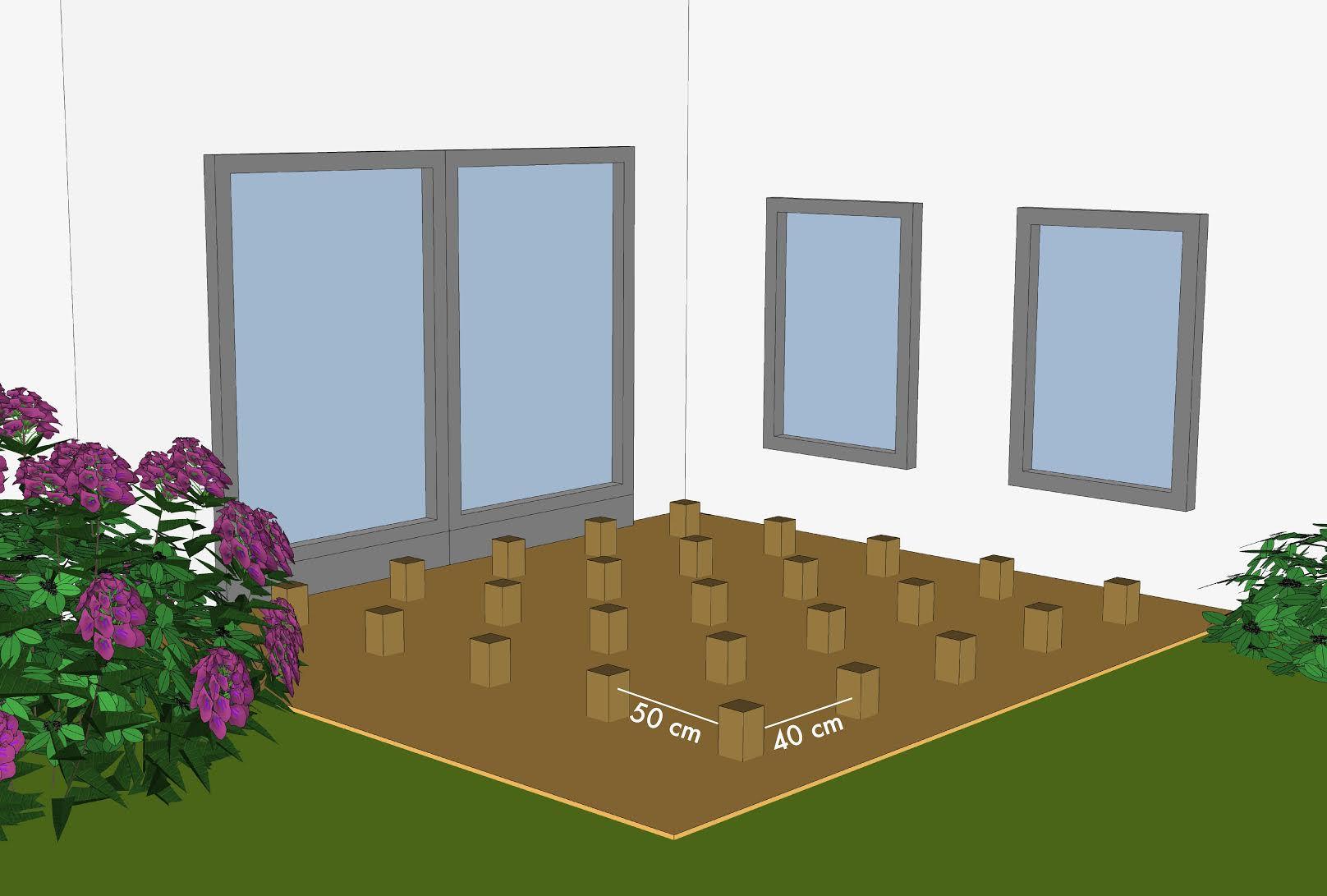Vloer houten vloer leggen in voortent : Diverse rijen Piketpalen plaatsen om de de 40 cm, de fundering van uw ...
