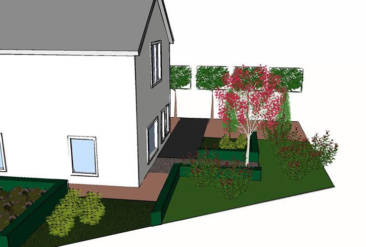 Tuinontwerp middelgrote tuin vrijstaande woning for Plattegrond tuin maken
