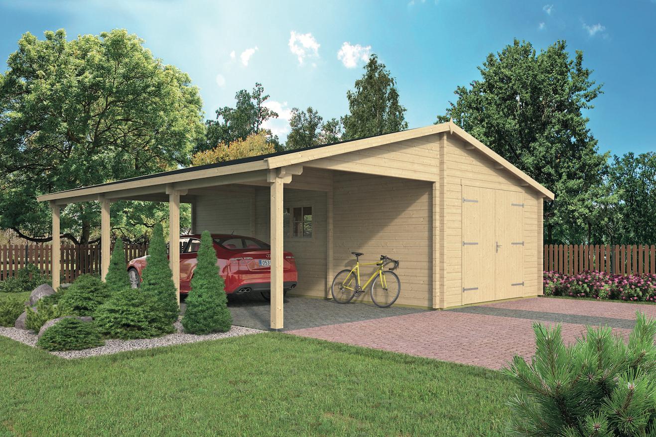 Garage Met Carport : Houten garage carport berggen cm schuur van hout