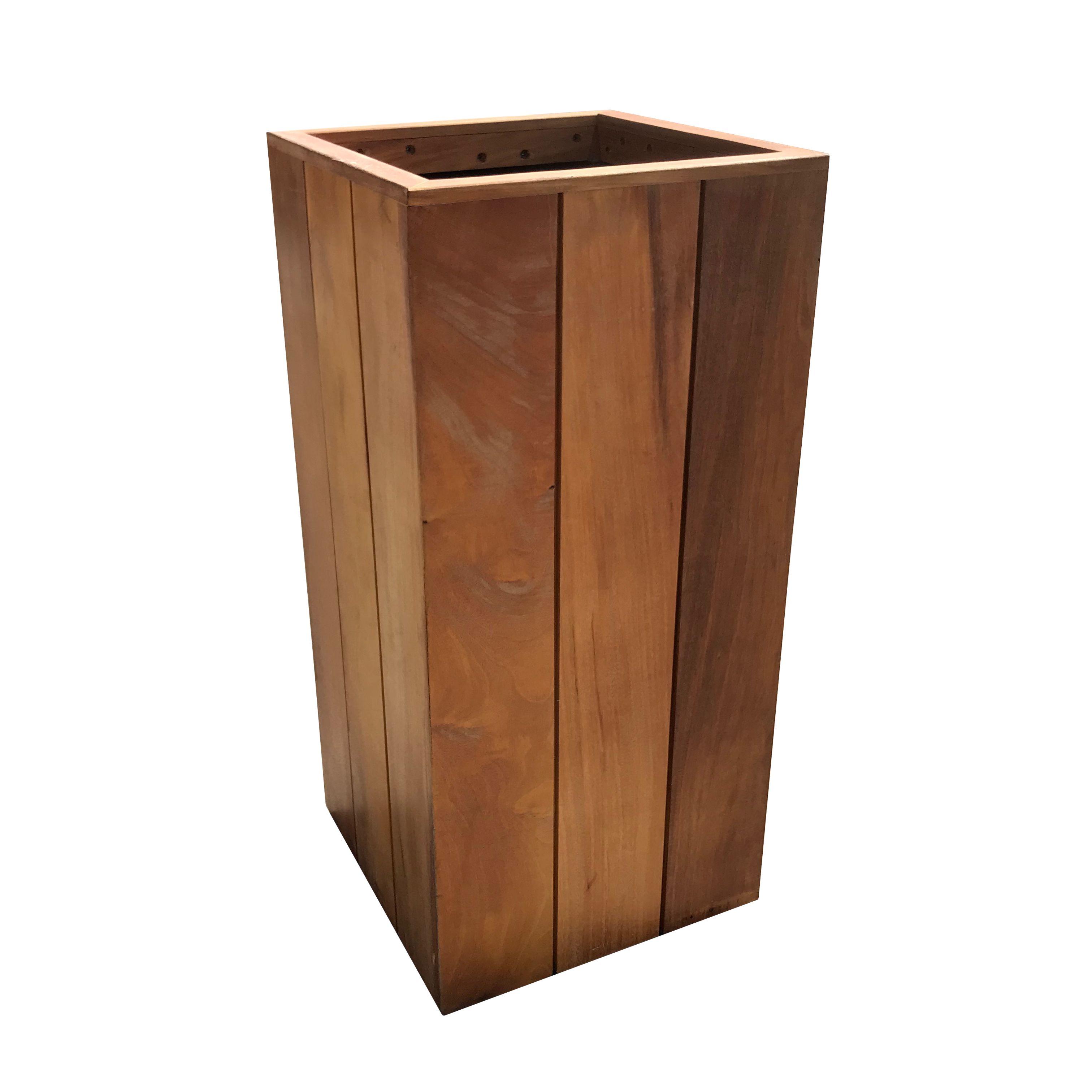 Hardhout Plantenbak Staande Pilaar 30 X 30 X 70 Cm Bankirai