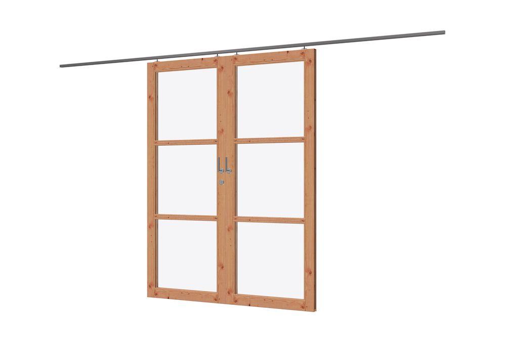 Spiksplinternieuw Dubbele Schuifdeuren met Glas 176 x 227 cm Lariks Douglas ED-27