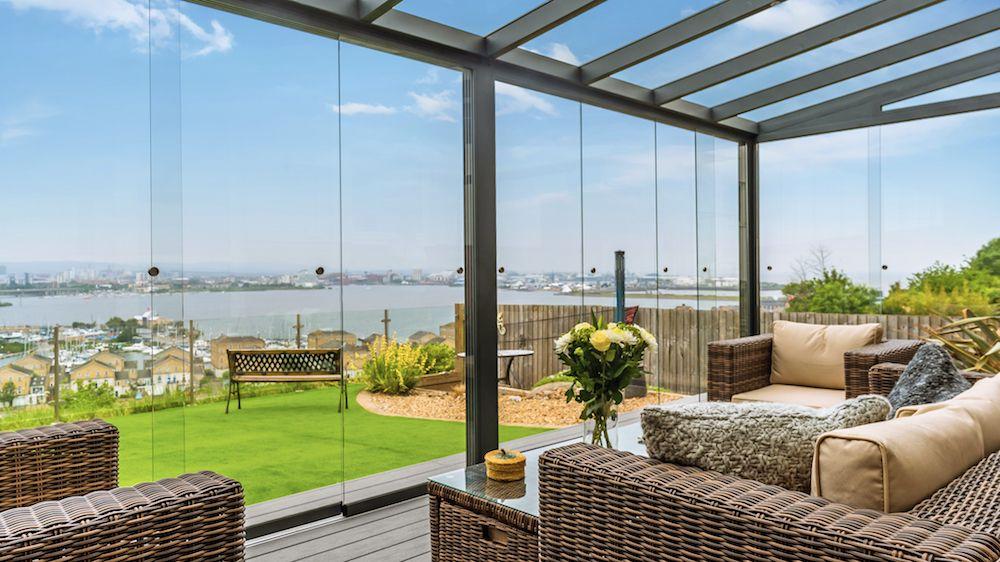 Veranda En Aluminium Xl Anthracite 500x400cm Cloisons En Verre