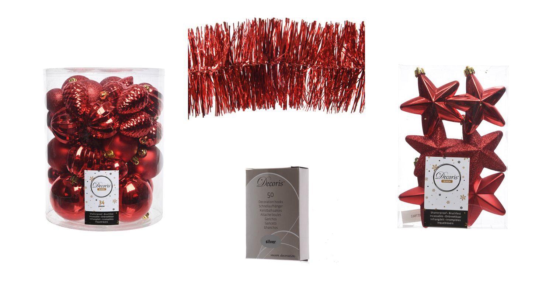 Kerstdecoraties Met Rood : Kerstboomversiering rood kerstslingers decoratie en kerstballen