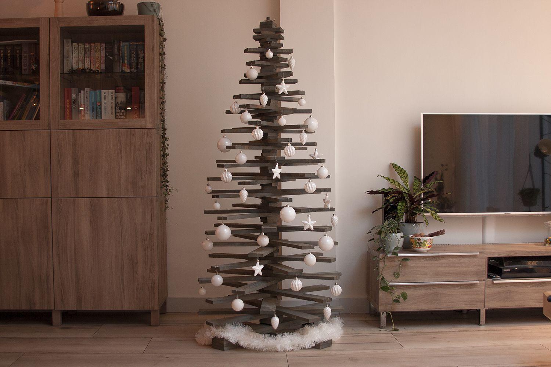 Houten Kerstboom 3d Hoogte 120 Cm Sloophout Draaibare Kerstboom
