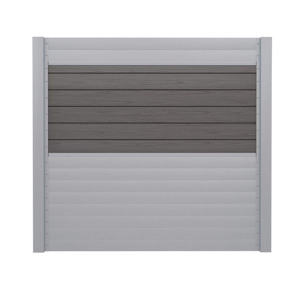 Sichtschutzzaun Set Wpc Silbergrau Und Aluminium Silber 180 Cm