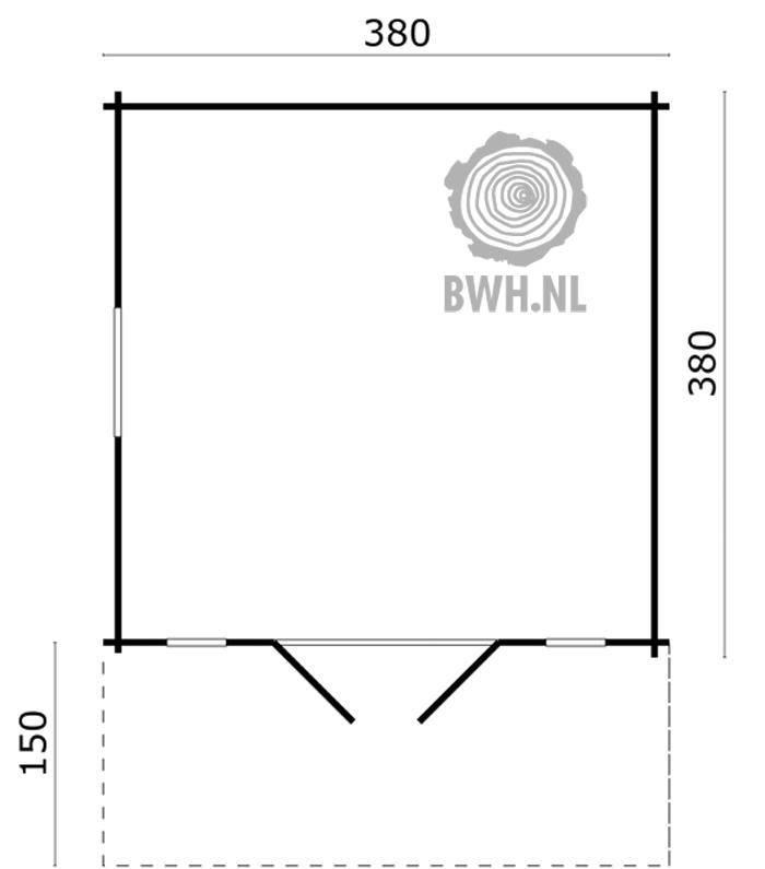 Blokhut Soren 380 x 380 + Luifel 150 cm