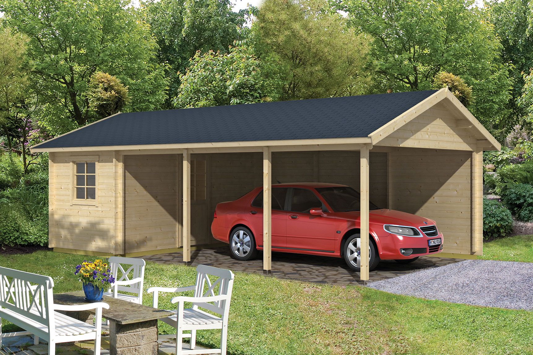Houten Carport met schuur Enkhuizen 770 x 430 cm met blokhut