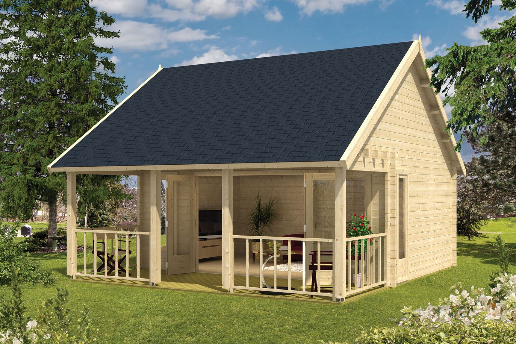 Blokhut olaug met veranda 550 x 598 cm - Houten huis ...