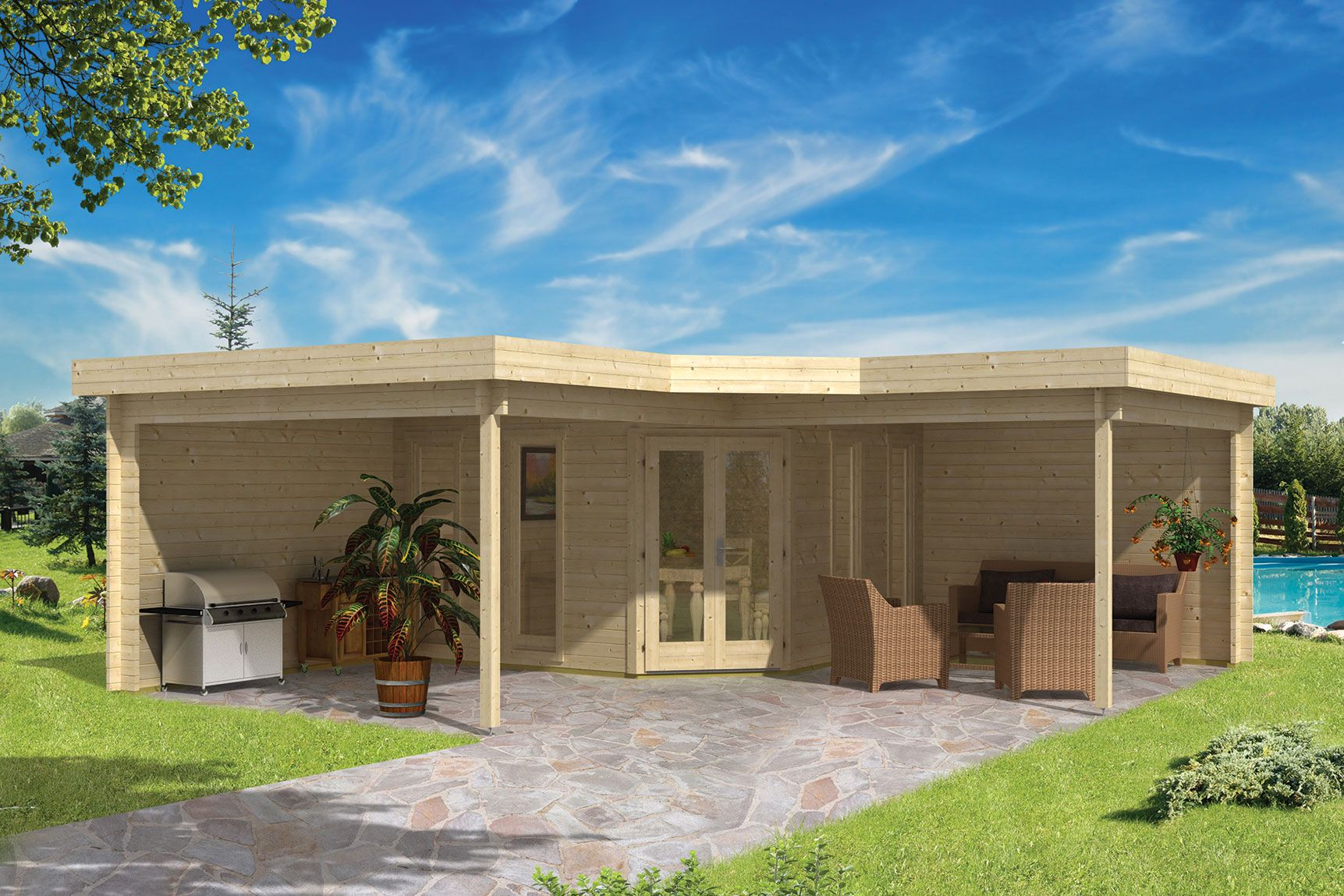 houten blokhut jutka 678 x 678 cm met luifels. Black Bedroom Furniture Sets. Home Design Ideas
