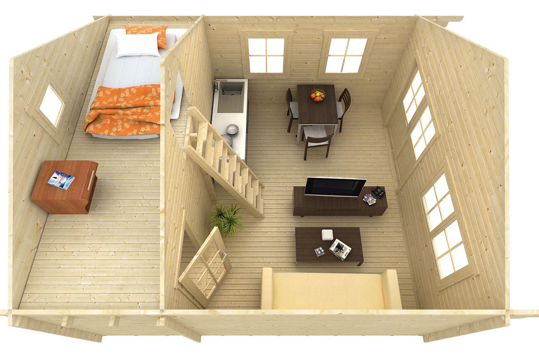 Blokhut Berlijn 490 x 530 cm tuindeco prefab chalet huis hout