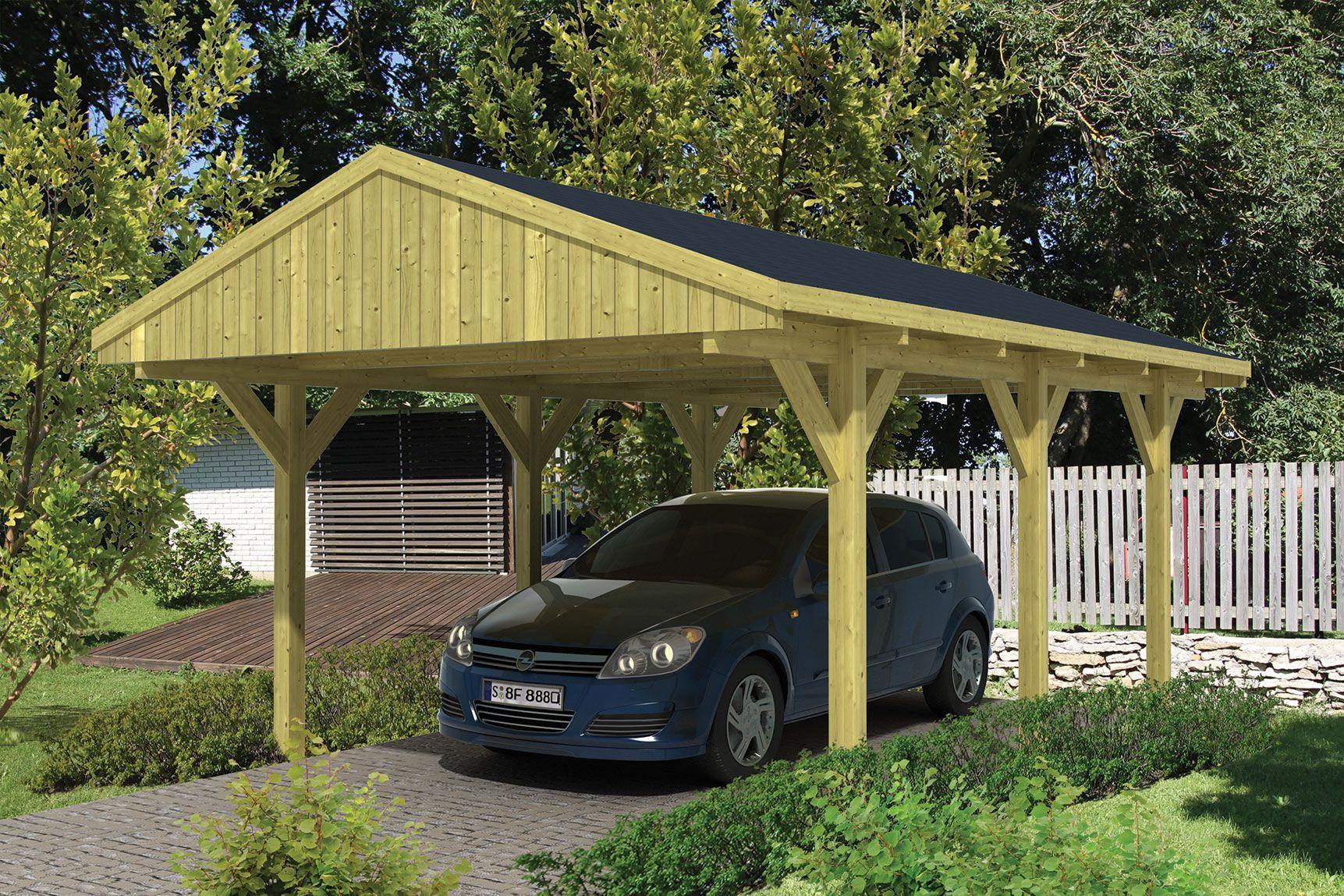 Houten Carport Zadeldak 400 x 600 cm voor 2 auto\'s