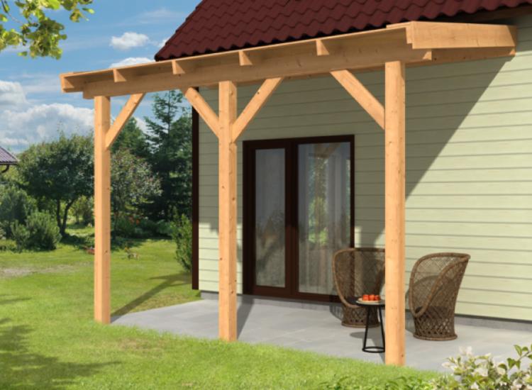 Aanbouw veranda lariks douglas houten aanbouw overkapping - Veranda met stenen muur ...