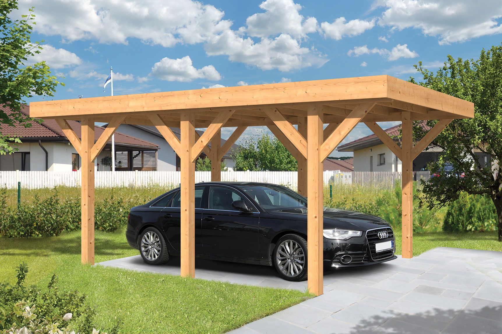 Houten carport lemmer cm plat dak gadero