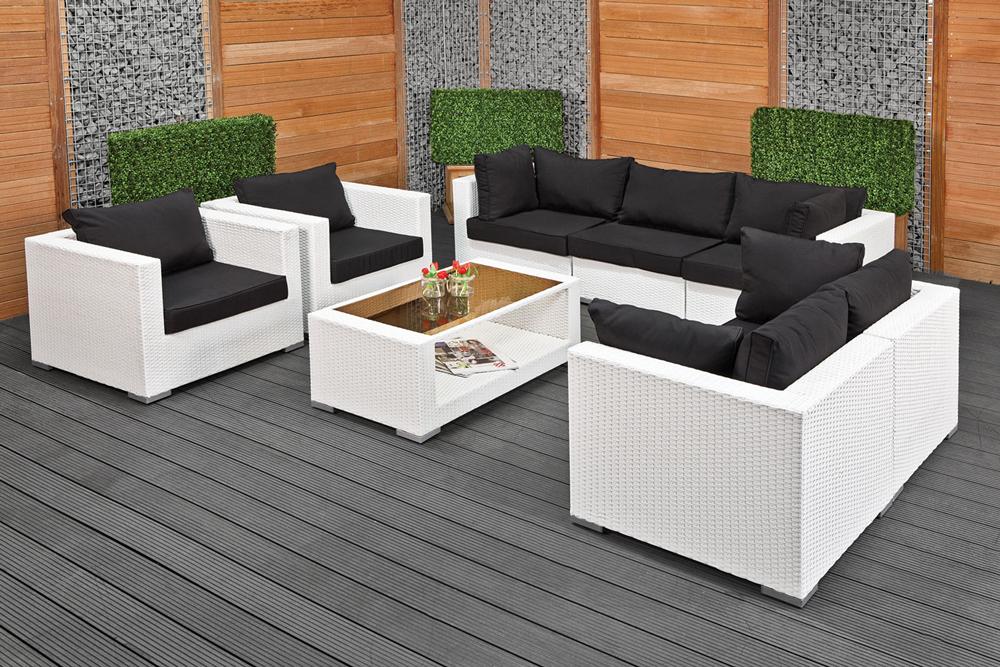 Wicker loungeset bergamo 5 delig wit met zwarte kussens - Moderne zwart witte lounge ...