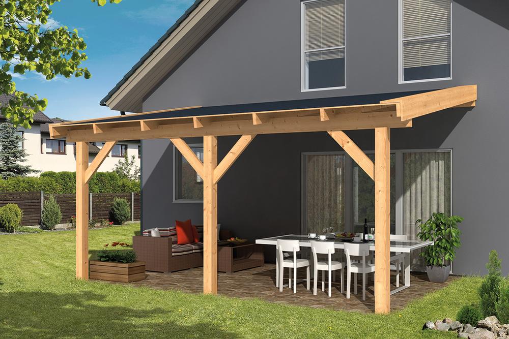 Aanbouw veranda lariks douglas geschaafd 400 x 300 cm dhz for Huis gezellig maken goedkoop