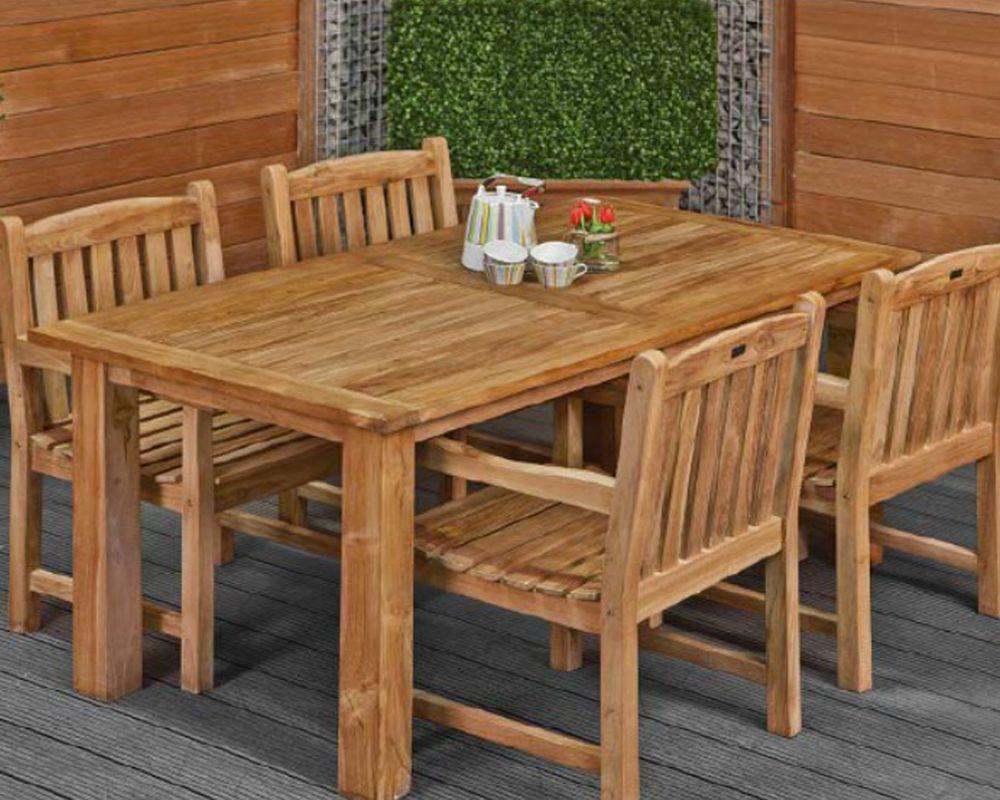 Dinner Set Tuin : Dinner set teak hardhout modern 180 x 90 cm 4 stoelen birmingham