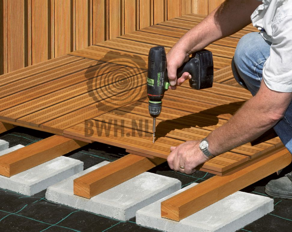 Tuintegel hardhout 100x100 cm bankirai tegel 24 mm dikte - Houten terras en tegels ...