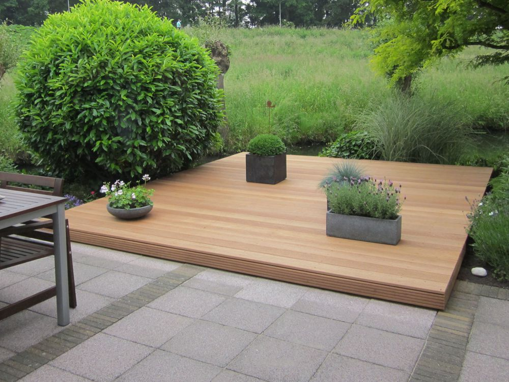 Vlonder hardhout per m2 compleet pakket vlonder terras - Houten terras en tegels ...