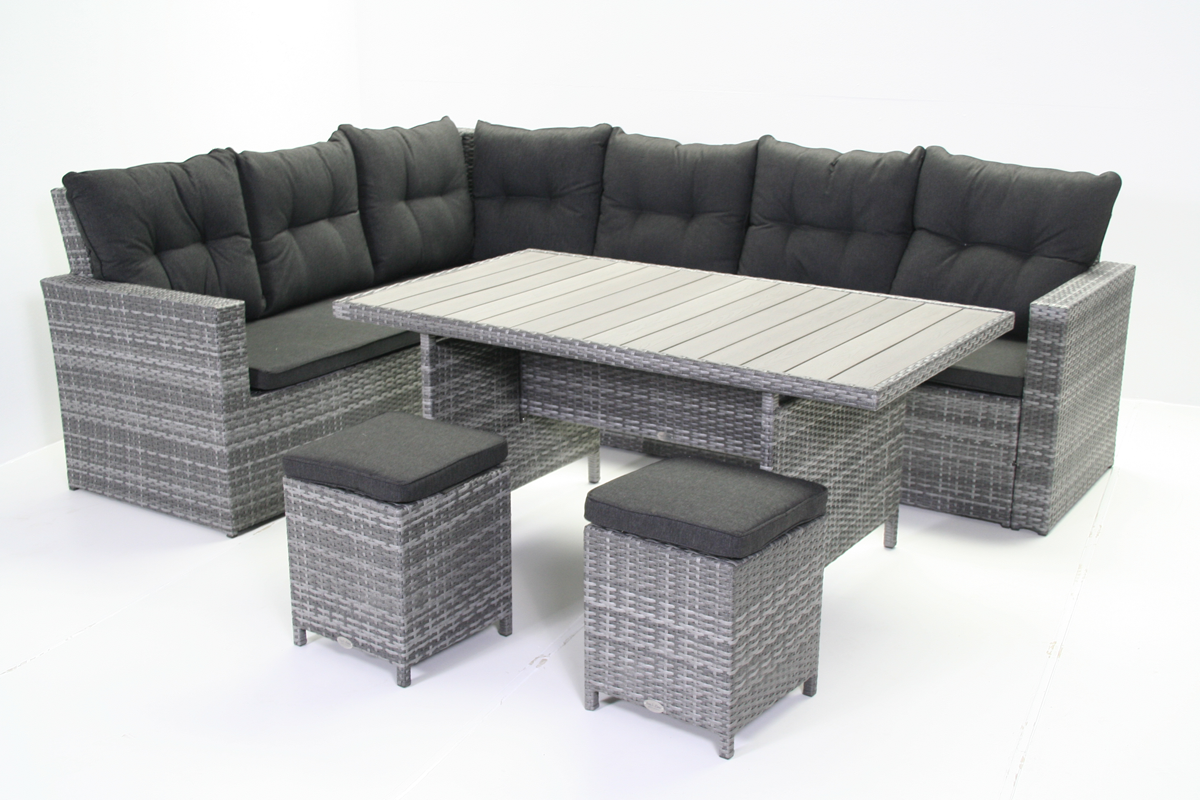 loungeset virginia 4 delig tuinmeubel lichtgrijs plat wicker. Black Bedroom Furniture Sets. Home Design Ideas