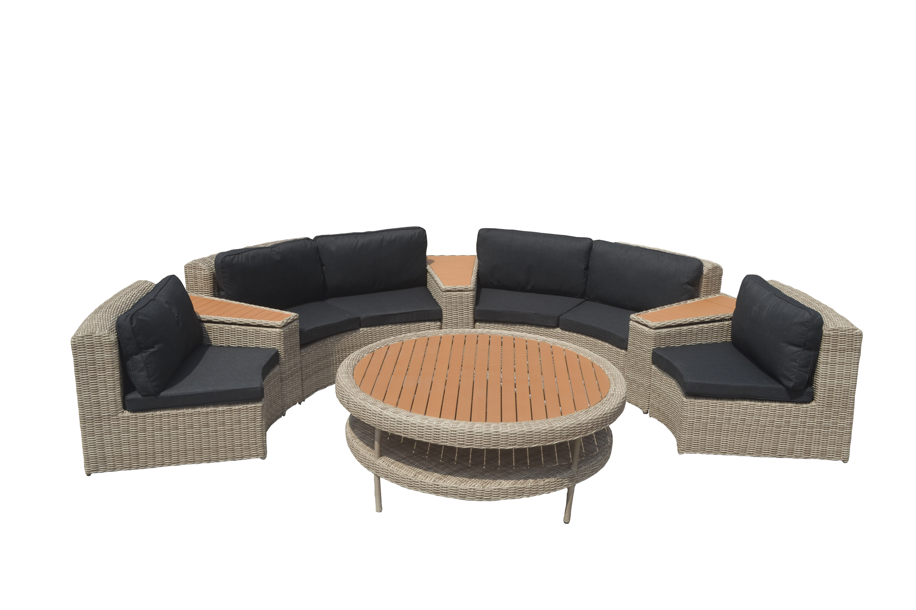 Ronde Loungeset Colorado 8 delig Lichtbruin wicker