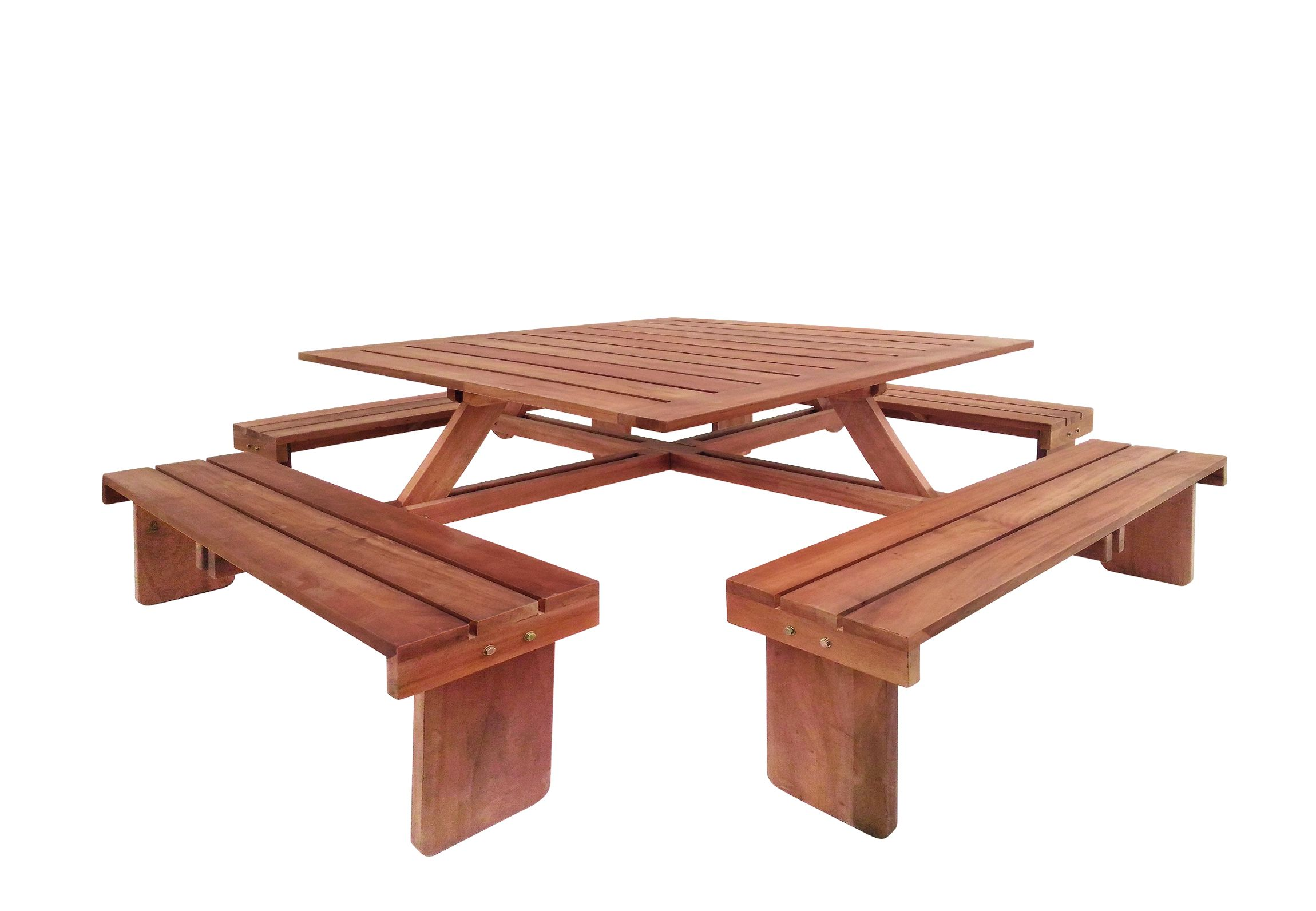 Picknicktafel Goede Kwaliteit.Hardhouten Picknicktafel Vierkant 210 X 210 X 75 Cm Voor 8 Personen