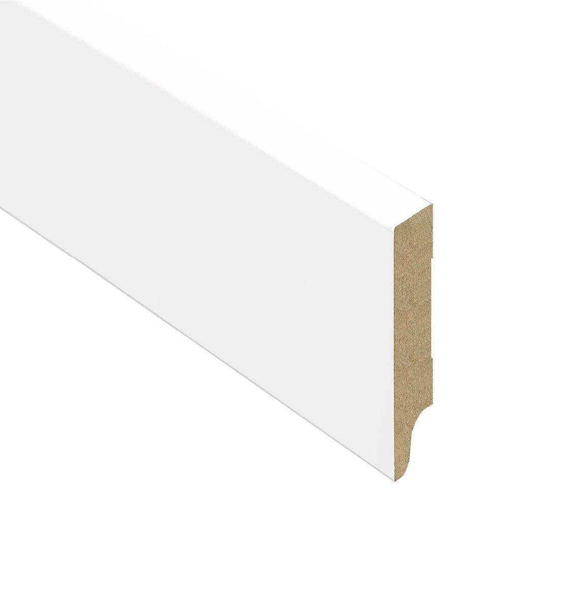 Mdf muur plinten xl wit gegrond 5 8 cm hoog witte vloer plint - Parket aan de muur ...
