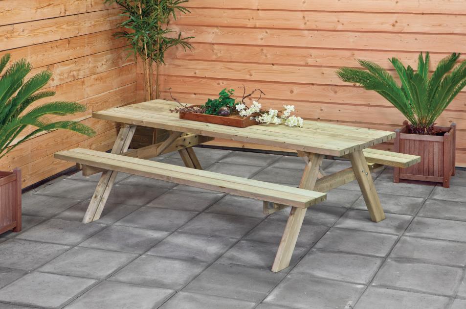 Houten picknicktafel met opklapbare banken kopen - Bank terras hout ...