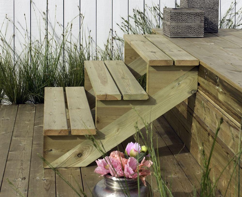 Trapbalk hout voor tuintrap 3 treden trapwang ge mpregneerd for Houten trap voor buiten