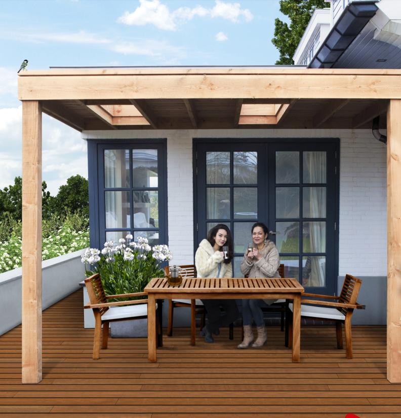 Aanbouw veranda douglas hout 300 x 300 cm plat dak - Veranda met dakraam ...