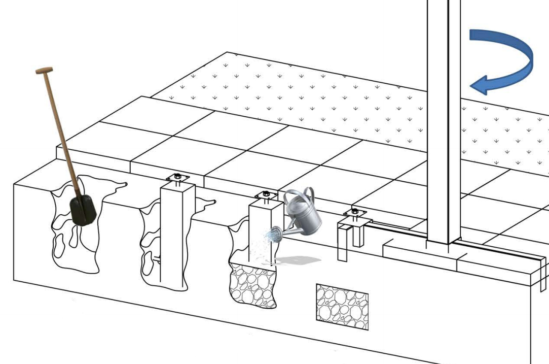 Betonpoer wit grijs 15 x 17 x 50 cm incl rvs for Vaste zoldertrap incl plaatsen en inmeten