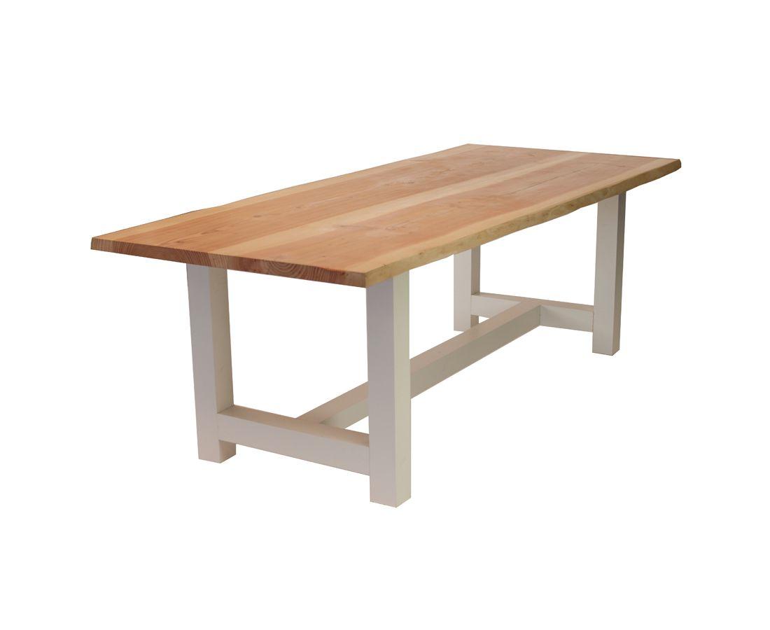 Boomstam tafel lariks hout geschaafd 250 cm for Stalen onderstel tafel laten maken