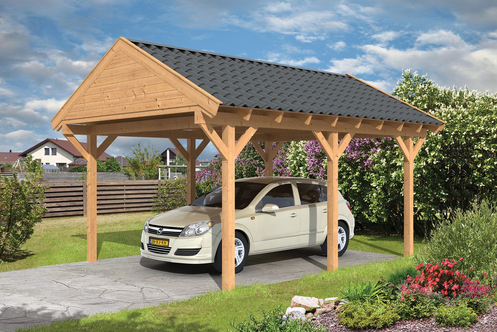 Carport hout met zadeldak workum lariks douglas 430 x 600 cm - Carport foto ...