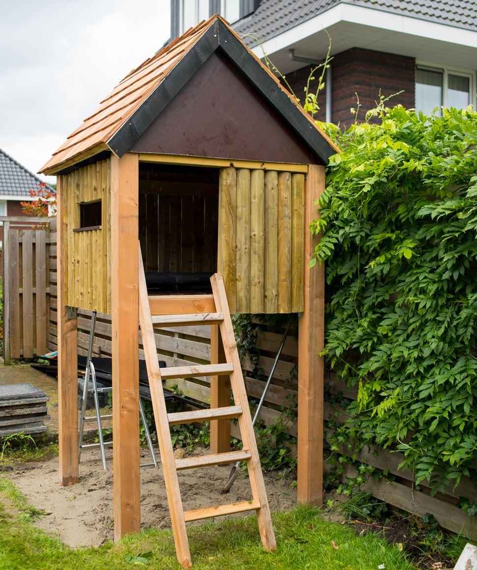 Zelf houten speelhuisje bouwen kinderhuisje maken for Houten vijverbak maken