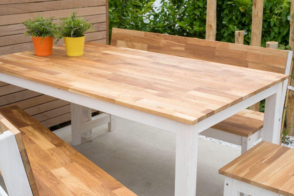 Eettafel set wit onderstel met eiken blad