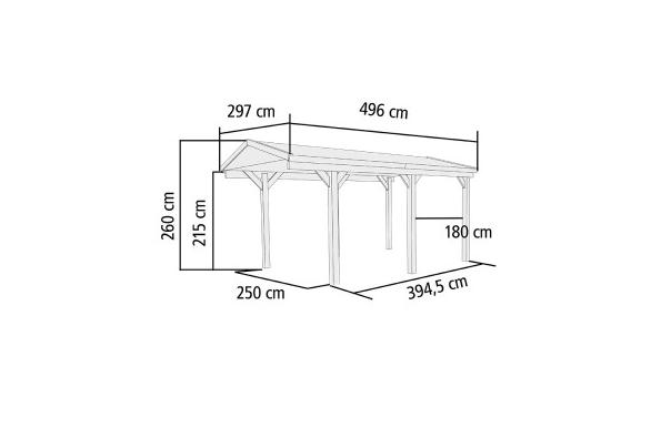 Carport Zadeldak Enkel 1 Karibu 297 x 496 x 260 cm - Gadero