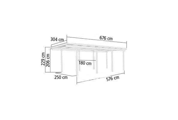Carport Enkel 2 Karibu 304 x 676 x 229 cm