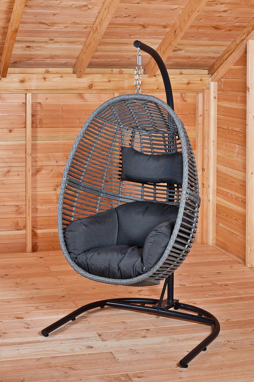 Bedwelming Cacoon Hangende stoel met kussen, neksteun en ketting (75 cm) @KM26