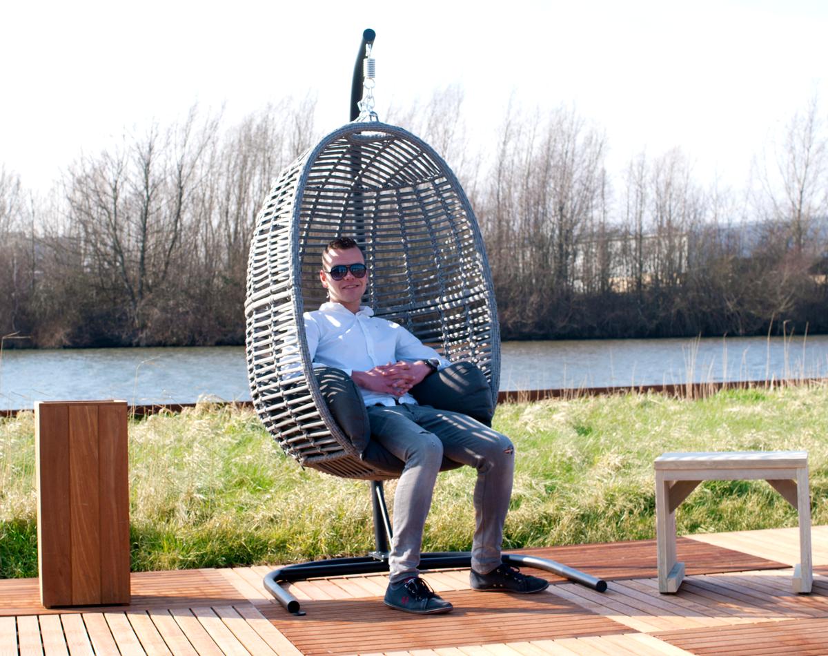 Zeer Cacoon Hangende stoel met kussen, neksteun en ketting (75 cm) &VK52