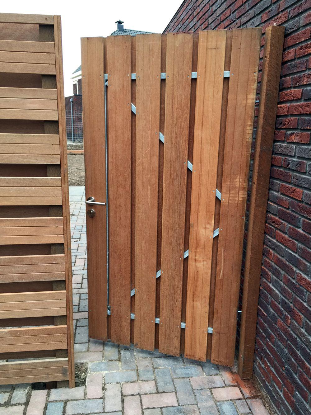 Tuindeur in stalen frame hardhout rvs slot 150 195cm for Ecksofa 200 x 150